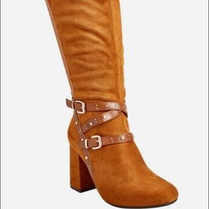 Ashley Stewart Suede Cognac Block Heel Boots
